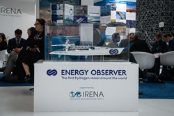 The Energy Observer model on the IRENA stand at the WFES in Abu Dhabi in 2018