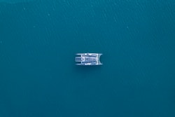 Energy Observer sailing in Svalbard seen from above