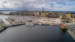 Energy Observer moored in the port of Saint-Malo