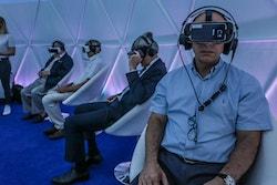 A Thélem assurances delegation uses VR in the Energy Observer village in Paris in 2017