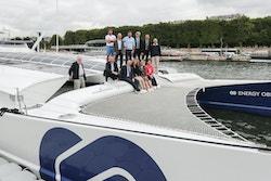 A Thélem assurances delegation onboard Energy Observer in Paris in 2017