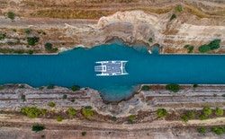 Photo of drone taken from the top of the boat crossing the Corinth Canal