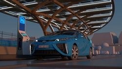 A 3D visual representing a car stopping at a hydrogen station