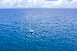 A drone view of Energy Observer at sea
