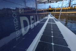 Solar panels screen-printed with the Delanchy Transport logo