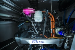 A fuel Cell with the logo of Toyota Fuel Cell