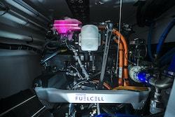 Une pile à combustible avec le logo Toyota Fuel Cell