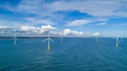 A drone picture of wind turbines at sea near Aberdeen, Scotland