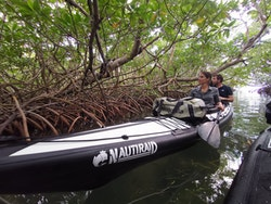 The crew on a kayak in the mangroves