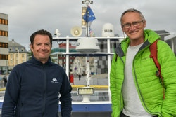 Jean-Baptiste Sanchez, second in command, and Olivier Pitras, skipper, on Energy Observer