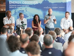 Bertrand Piccard speaks to many journalists