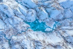 Drone view of melting ice in a glacier
