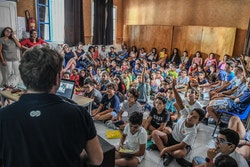 Marin and Amélie present Energy Observer to students at Adrien Brechet School