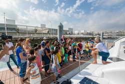 Pupils from the Henry Wallon school visit the boat
