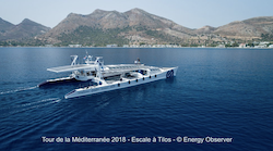 Picture of Energy Observer arriving in Tilos